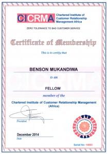 Benson Mukandiwa F.CICRMA Certificate